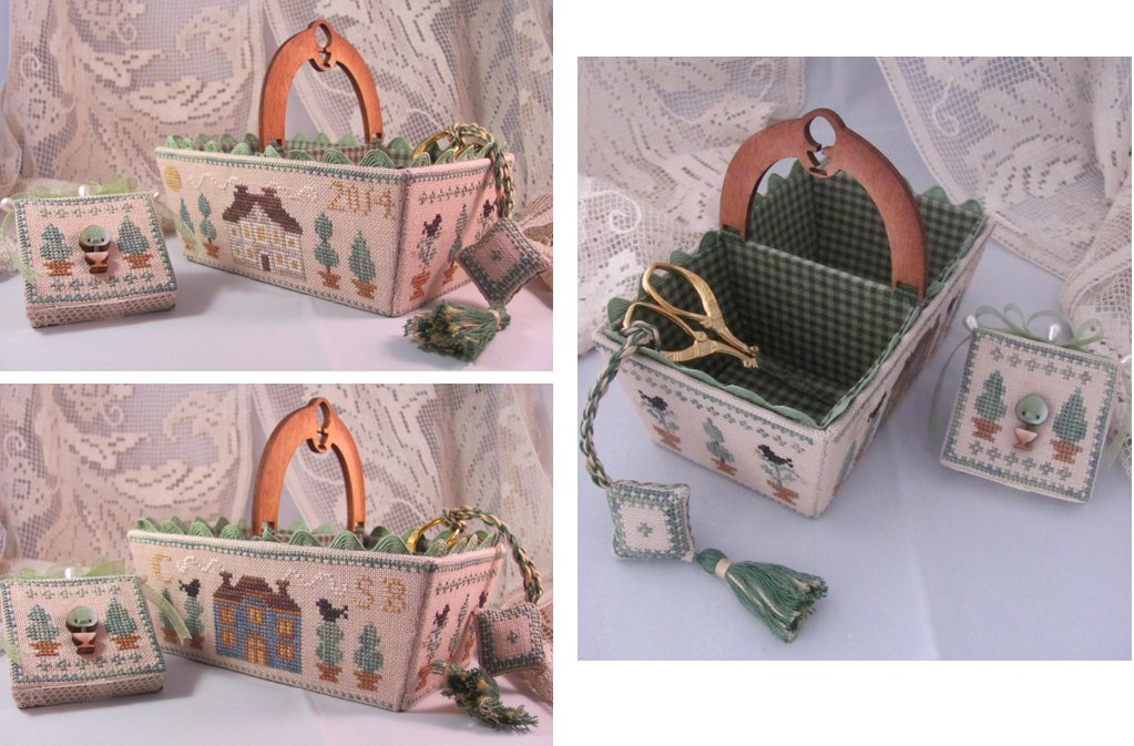 Mani di Donna Green Days Sewing Basket With Wooden Handle & Button