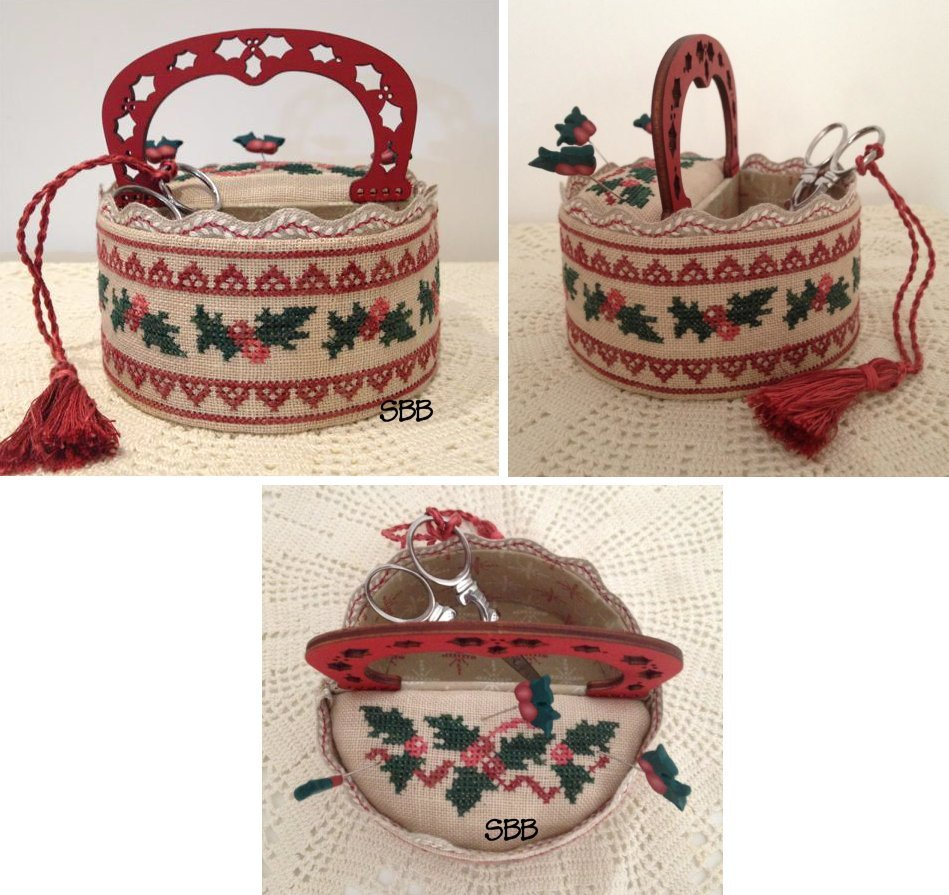 Mani di Donna Holly Sewing Basket With Wooden Handle