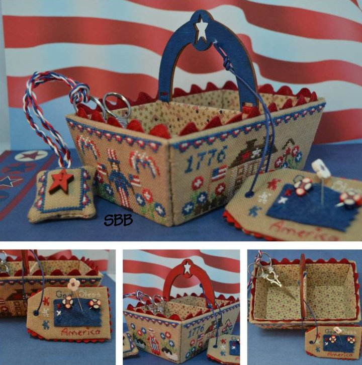 Mani di Donna Patriotic Days Sewing Basket With Hand Made Wooden Handle & Star Button