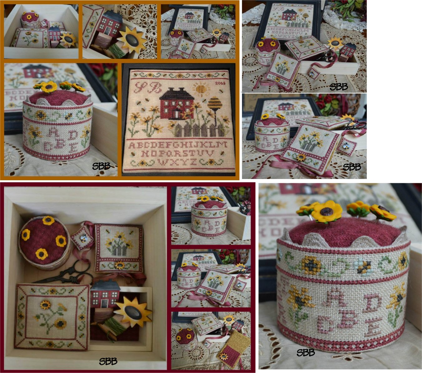 Mani di Donna Sunflower Cottage Sewing Box With Three Wooden Buttons