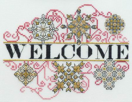 MarNic Designs Ornament Welcome I ~ Red, Gold & Black