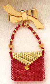 Mill Hill Jewelry Kits MHLPP4 La Petite Purse Pins 2004 ~ La Golden Red