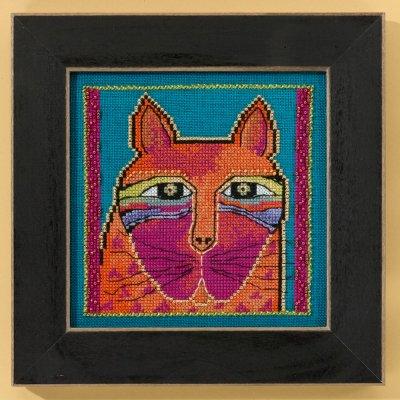 Mill Hill Laurel Burch Kits LB305101 Cats Collection Wild Orange Cat ~ 28 Count Linen