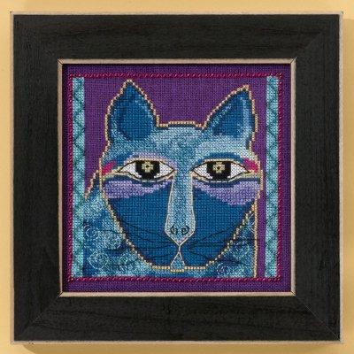 Mill Hill Laurel Burch Kits LB305102 Cats Collection Wild Blue Cat ~ 28 Count Linen