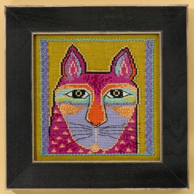 Mill Hill Laurel Burch Kits LB305103 Cats Collection Wild Pink Cat ~ 28 Count Linen