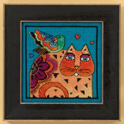 Mill Hill Laurel Burch Kits LB305104 Cats Collection Feathered Friend ~ 28 Count Linen