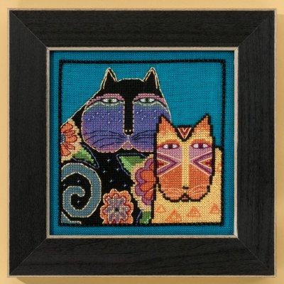 Mill Hill Laurel Burch Kits LB305106 Cats Collection Feline Friends ~ 28 Count Linen