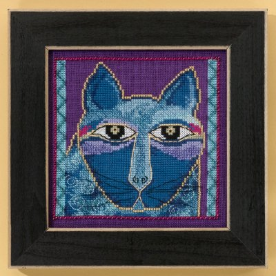 Mill Hill Laurel Burch Kits LB305112 Cats Collection Wild Blue Cat ~ 14 Count Aida