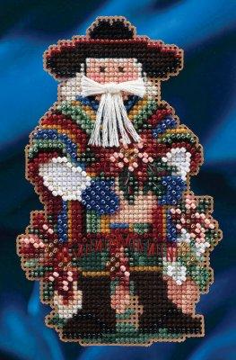 Mill Hill Santa Ornament Kits MH204303 Celebrations Santas 2014 ~ Feliz Navidad Santa