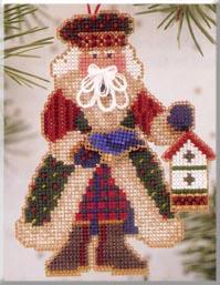 Mill Hill Santa Ornament Kits MHAS13 Alpine Santas 2003 ~ Bluebird Santa