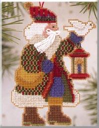 Mill Hill Santa Ornament Kits MHAS14 Alpine Santas 2003 ~ Dove Santa