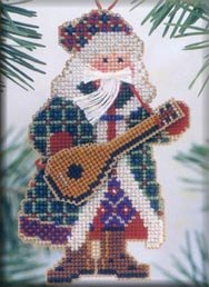 Mill Hill Santa Ornament Kits MHMS10 Musical Santas 2002 ~ Mandolin Santa