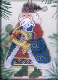 Mill Hill Santa Ornament Kits MHMS12 Musical Santas 2002 ~ French Horn Santa