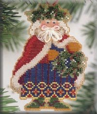 Mill Hill Santa Ornament Kits MHWS9 Woodland Santas 2001 ~ Holly & Ivy Santa
