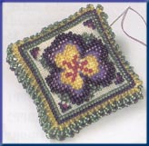 Mill Hill Special Edition Kits MHBPP3 Beaded Pin Pillows 2003 ~ Pansy Petals ~ 28 Count Linen