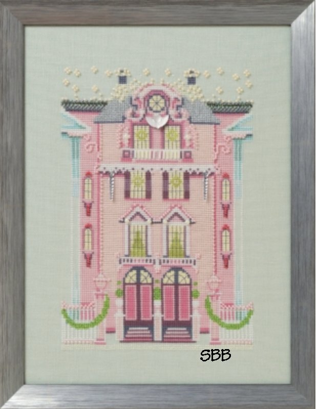 Nora Corbett Designs  #NC283  Holiday Village ~ The Pink Edwardian House