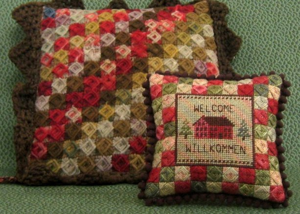The Needle's Notion Willkommen Pin Cushion Counted Needlepoint