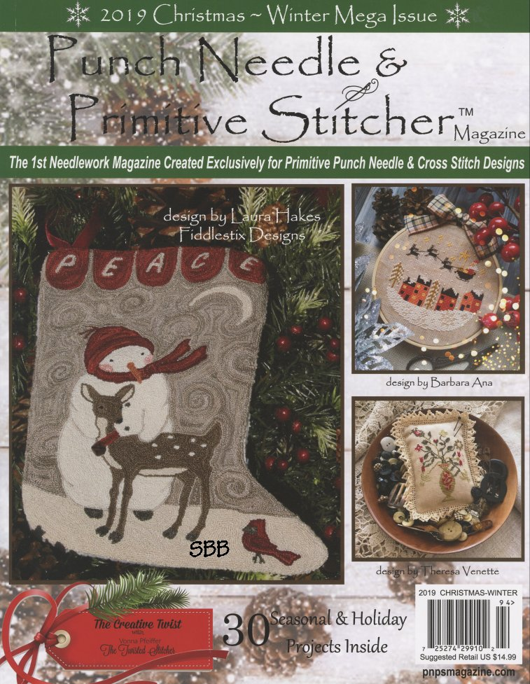 Punch Needle & Primitive Stitcher Magazine Christmas/Winter 2019