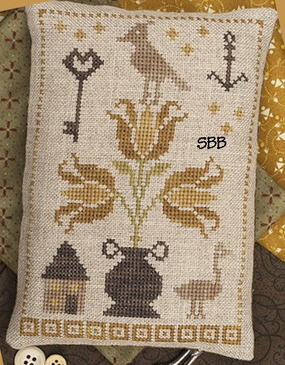 Pheasant Street Samplers Closeout Primitive Tulip Pyn Pillow