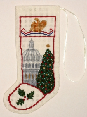 The Posy Collection Kits  PC1154 National Christmas Tree Stocking Ornament ~ 18 count Aida