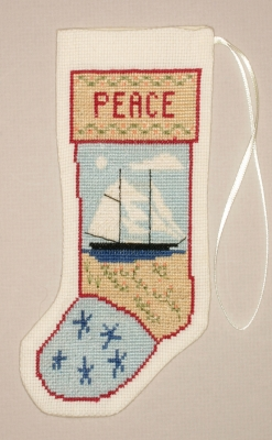 The Posy Collection Kits  PC1417 Kedron Schooner Stocking Ornament ~ 18 count Aida
