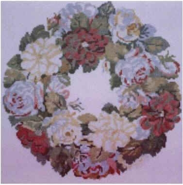 The Posy Collection Kits  PC194 Nelly Custis Rose Wreath ~ 14 count Aida