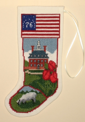 The Posy Collection Kits  PC1956 Historic Williamsburg Governor's Palace Stocking Ornament ~ 18 count Aida