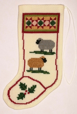 The Posy Collection Kits  PC708 Colonial Sheep Stocking Ornament ~ 18 count Aida