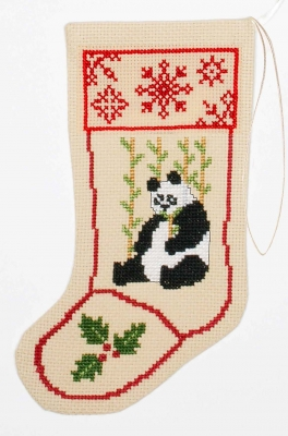 The Posy Collection Kits  PC866 Panda Stocking Ornament ~ 18 count Aida
