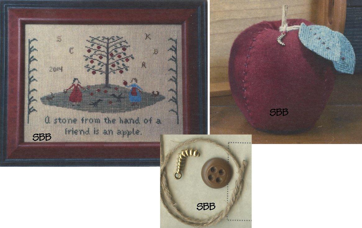 Priscilla's Pocket  An Apple Sampler & Pincushion With Embellishments