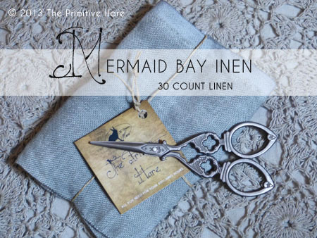 The Primitive Hare Linen40 Count Mermaid Bay 20 x 27