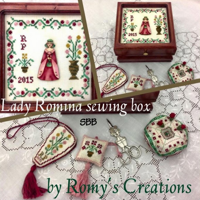 Romy's Creations Designs Le 4 Damine ~ Lady Romina Sewing Box With Handpainted Wooden Button