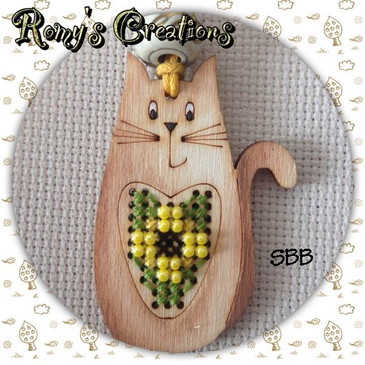 Romys Creations Designs Stitch In Wood ~ Cat