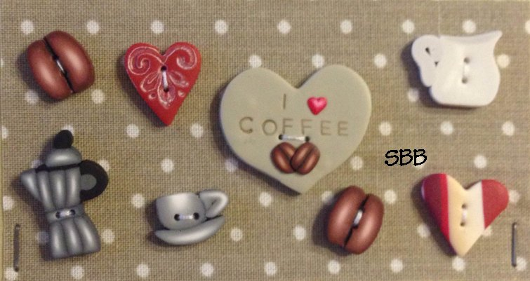 Romy's Creations Limited Edition I Love Coffee Buttons