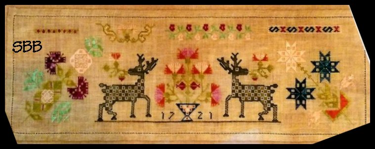 Samplers Remembered Closeout  Checkerboard Stag Sampler 1721