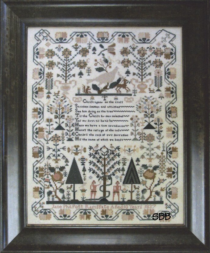 Shakespeare's Peddler Jane Philpott 1837 ~ An Adam & Eve Sampler