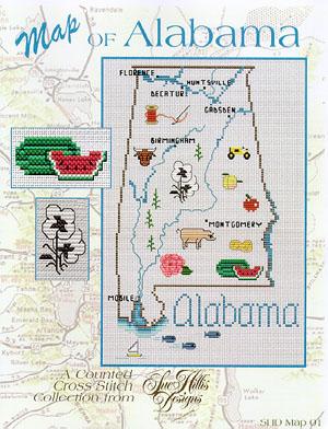Sue Hillis Designs Alabama Map