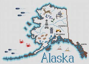 Sue Hillis Designs Alaska Map