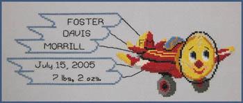 The Stitchworks Airplain Birth Sampler