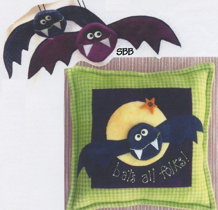 Val's Stitchin' Stuff Bats All Folks ~ Wool Applique