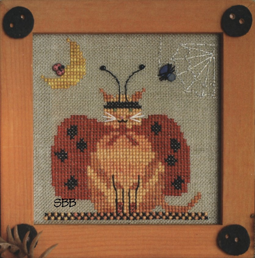 Victoria Sampler Designs by Cathy Jean CJVS40 Lady Kitty Bug