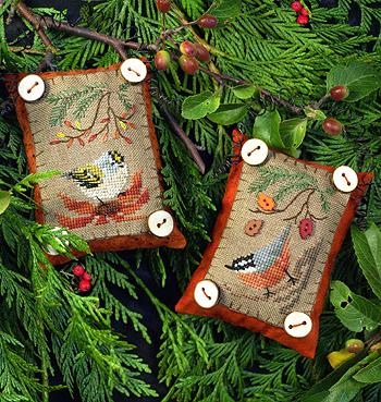Victoria Sampler Designs by Cathy Jean CJVS53 Button Up Birdies #6