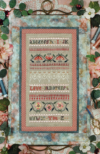 Victoria Sampler's Beautiful Finishing Series F15 I Love You Quilted Bellpull Sampler