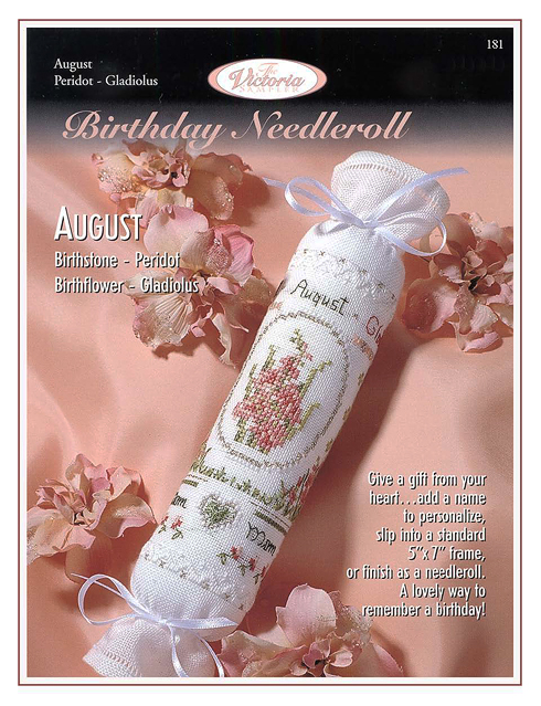 Victoria Sampler181 Birthday Needleroll August