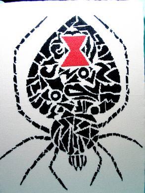 White Willow Stitching Tribal Black Widow
