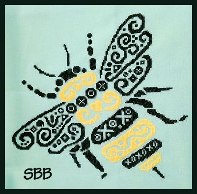 White Willow Stitching Tribal Bumble Bee